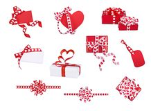 Set of gifts, bows and cards with hearts Stock Photography