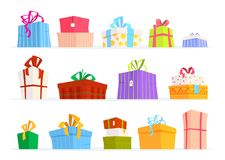 Set of gifts box. Set of gifts box for you design. Vector illustration Royalty Free Stock Photo