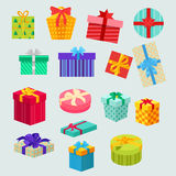 Set of Gifts Boxes Design Flat Royalty Free Stock Photography