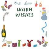 Set of gifts, drink, angels, winter socks, snowman illustration set. royalty free illustration