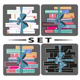 Set of gifts on a gray background stock illustration