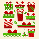 Set gifts Happy Christmas. Box with a festive  New Year. Set gifts Happy Christmas. Box with a festive Happy New Year. Vector illustration Stock Photos