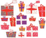 Set of gifts with pattern Stock Photos