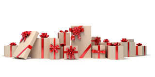 Set of gifts with red ribbons. Holiday illustration. Royalty Free Stock Images
