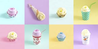 Set of gifts with socks, imitation of festive desserts and drink. S cupcakes and cocktails. Minimal style. Creative idea, imagination and fantasy. Christmas and royalty free stock photography