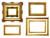 Set of gilded frames. Isolated over white Stock Photography