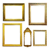 Set of gilded frames. Isolated over white background Royalty Free Stock Photography
