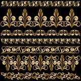 Set of gilt ornaments. Set of elegant gilt borders for design Stock Photos