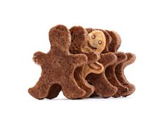 Set of ginger man shaped cookies Royalty Free Stock Image