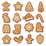 Set of Gingerbread Christmas cookies decorated icing. Royalty Free Stock Image