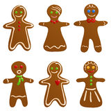 Set of gingerbread cookies. Cute gingerbread men and women for Christmas Royalty Free Stock Images
