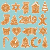 Set of gingerbread cookies stickers stock illustration