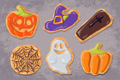 A set of gingerbread cookies on the theme of Halloween. Stock Photography