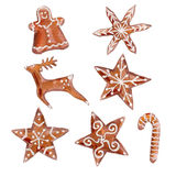 The set of gingerbread cookies on white background, gingerbread man, deer, stars and gingerbread candy cane symbol waterc. Olor illustration in hand-drawn style Vector Illustration