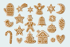 Set with gingerbread figures Royalty Free Stock Photo