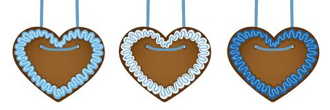 Set of gingerbread hearts in blue colors royalty free illustration