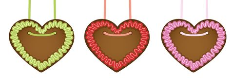 Set of gingerbread hearts in different colors royalty free illustration