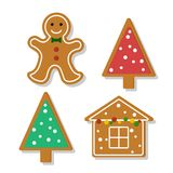 Set of gingerbread. Set of vector icons of Christmas ginger bread cookies. Gingerbread men and Christmas tree, house baked by hand. Festive baking for winter Stock Photography