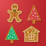 Set of gingerbread. Set of vector icons of Christmas ginger bread cookies. Gingerbread men and Christmas tree, house baked by hand. Festive baking for winter Royalty Free Stock Photos