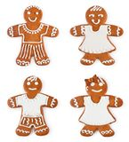 Set gingerbreads boys and girls - Christmas sweet cookies. Isolated on white background royalty free stock photography