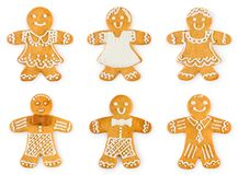 Set gingerbreads boys and girls - Christmas sweet cookies. Isolated on white background stock image