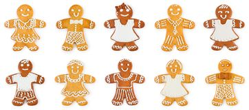 Set gingerbreads boys and girls - Christmas sweet cookies. Isolated on white background stock photo