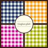Set of gingham plaid patterns Royalty Free Stock Photos