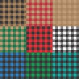 Set of 9 gingham , vichy patterns for picnic blanket or tablecloth design. Set of gingham , vichy patterns for picnic blanket or tablecloth design vector illustration