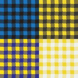 Set of 4 gingham vichy patterns for picnic blanket or tablecloth design. Set of gingham vichy patterns for picnic blanket or tablecloth design vector illustration