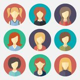 Set of girl avatar flat design icons Royalty Free Stock Images