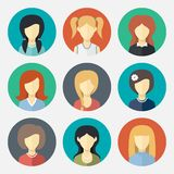 Set of girl avatar icons Royalty Free Stock Photography
