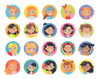 Set of Girl Avatar Userpics Buttons . Stock Images