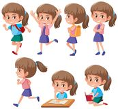 A set of girl character stock illustration