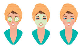 Set girl with clay mask on her face with a mask of cucumber and cleans pores strip. Stock vector illustration set girl with clay mask on her face with a mask of Stock Image