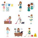 Set of girl in different situations lifestyle, life and engaged. Set of girl in different situations. Girl engaged in washing clothes, feeding child, beauty vector illustration