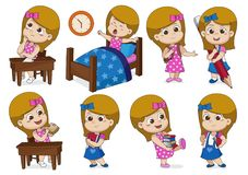 Set of a girl doing activities in one day stock illustration