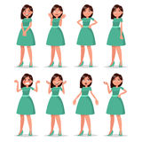 Set girl dressed in a dress with a variety of emotions and poses Stock Image