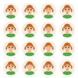 Set of girl emotions icons Royalty Free Stock Photos