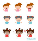 Set of girl expressions on white background ,Expression set of kids. Expressions Royalty Free Stock Images