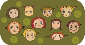 Set of  girl face. Set of nice faces of little girls on a flower background Stock Photo