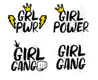 Set Of Girl Feminist Slogans With Lettering. Royalty Free Stock Photography