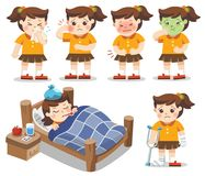 Set of A Girl get sick. She has high temperature. stomach ache ,. Toothache. Vector illustration stock illustration