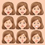 Set of girl head with different facial expression. Illustration vector illustration