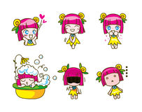 Set of girl kids cartoon collection Vector illustration Royalty Free Stock Image
