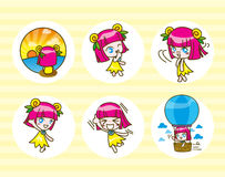 Set of girl kids cartoon collection Vector illustration Royalty Free Stock Images