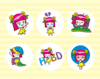 Set of girl kids cartoon collection Vector illustration Royalty Free Stock Photo