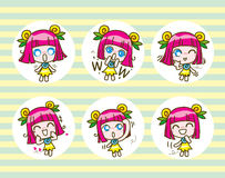 Set of girl kids cartoon collection Vector illustration. Set of girl kids cartoon collection,Vector illustration Stock Photo