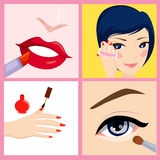 Set of girl make up Stock Images