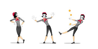 Set 2 of girl mime performances Royalty Free Stock Photo