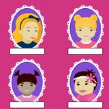 Set of girl portrait in oval frame Royalty Free Stock Photography